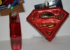 DC COMICS Super Hero SUPERMAN LOGO Man of Steel Blown Glass Christmas Ornament