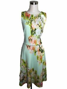 N202-MAGGY-LONDON-Designer-Dress-Size-14-L-Mint-Green-Floral-Fit-and-Flare