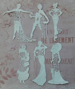 Die cut Silhouette Tattered Lace Garden Flower Scene card toppers Card Making