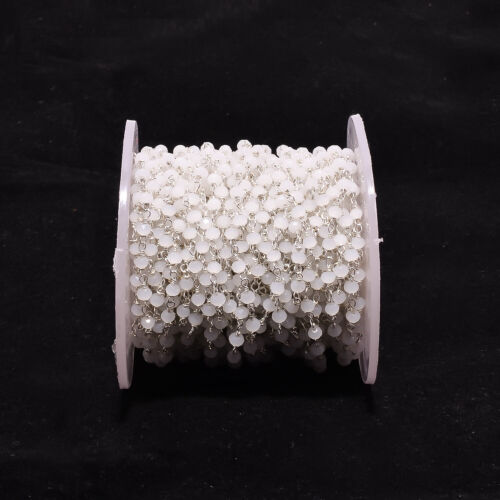 White  Hydro 3mm Rondelle Faceted  Beads  Silver Plated 1To 20 Foot Rosary Chain