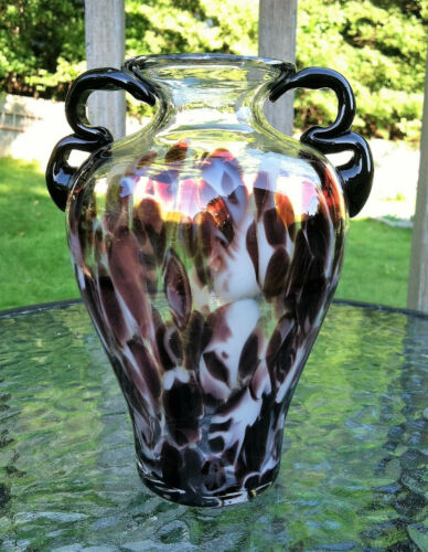 "Adorable Vintage Purple & White Tortoiseshell Glass VaseBlack Handles6.5"" tall"