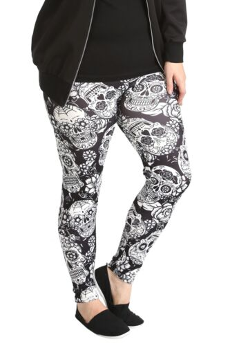 New Ladies Leggings Womens Plus Size Trouser Sugar Skull Gothic Pants Nouvelle