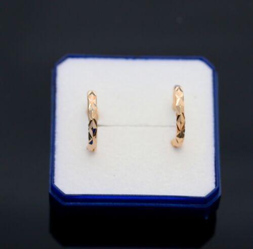 Boucle d/'oreille anneau creole en vrai plaqué or motif sicelé homme femme neuve