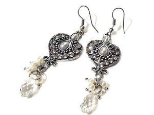 Bijou-alliage-argente-boucles-d-039-oreilles-coeur-breloques-earrings