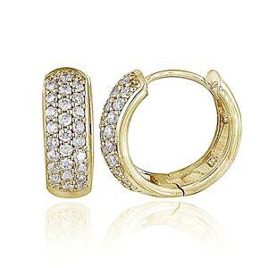 Gold-Tone-over-Sterling-Silver-Cubic-Zirconia-15mm-Huggie-Hoop-Earrings