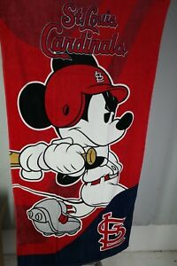 "St Louis Cardinals Mickey Mouse Disney Emblem Beach Towel MLB 30"" x 60"" T3"
