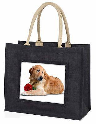 Golden Retriever mit roter Rose große schwarze Einkaufstasche WEIHNACHTEN PR,