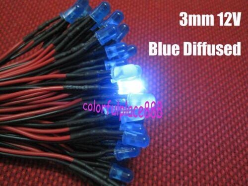 3mm Blue Diffused Round top 9V 12V DC Pre-Wired LED Leds Light 20CM New 200pcs