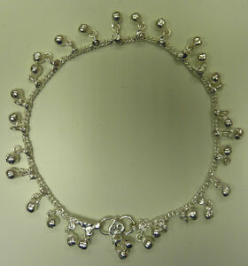 One-White-Metal-Silver-Coloured-Indian-Anklet-Lots-of-Small-Bells-AK10