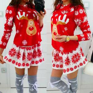 Women-Merry-Christmas-O-Neck-Snowflake-Elk-Print-Xmas-Long-Sleeve-Mini-Dresses