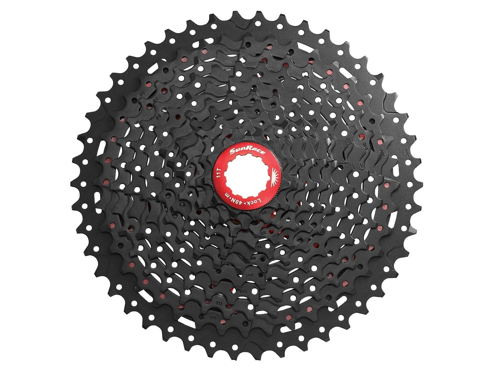 Kassetten-Zahnkranz 11-fach Sunrace CSMX8 11-46z - Schwarz Rot