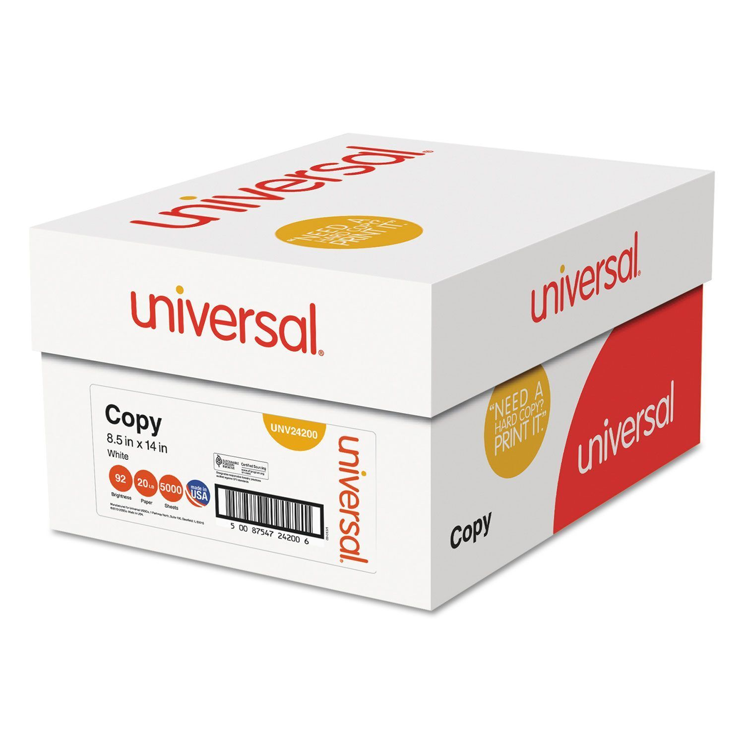 Universal Legal Size 20lb Copy Paper 92 Bright - 5000 Sheet Case