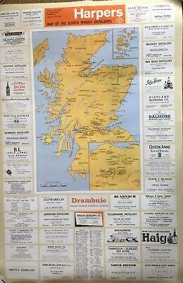 Distillery map Of Scotland Circa 1960