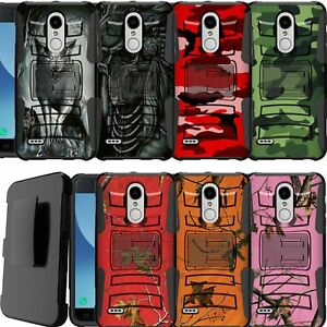 best service ca3ea cf174 Details about For Moto G6 Play, Moto G6 Forge (2018) Holster Clip Dual  Layer Camo stand Case