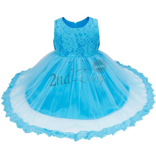 Wedding Pageant Formal Party Infant Baby Girls Floral Lace Princess Tutu Dress