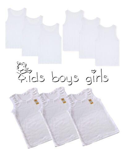 Size 9-11 WHOLESALE JOB LOT 24 x Girls Children Kids Vests White Cotton