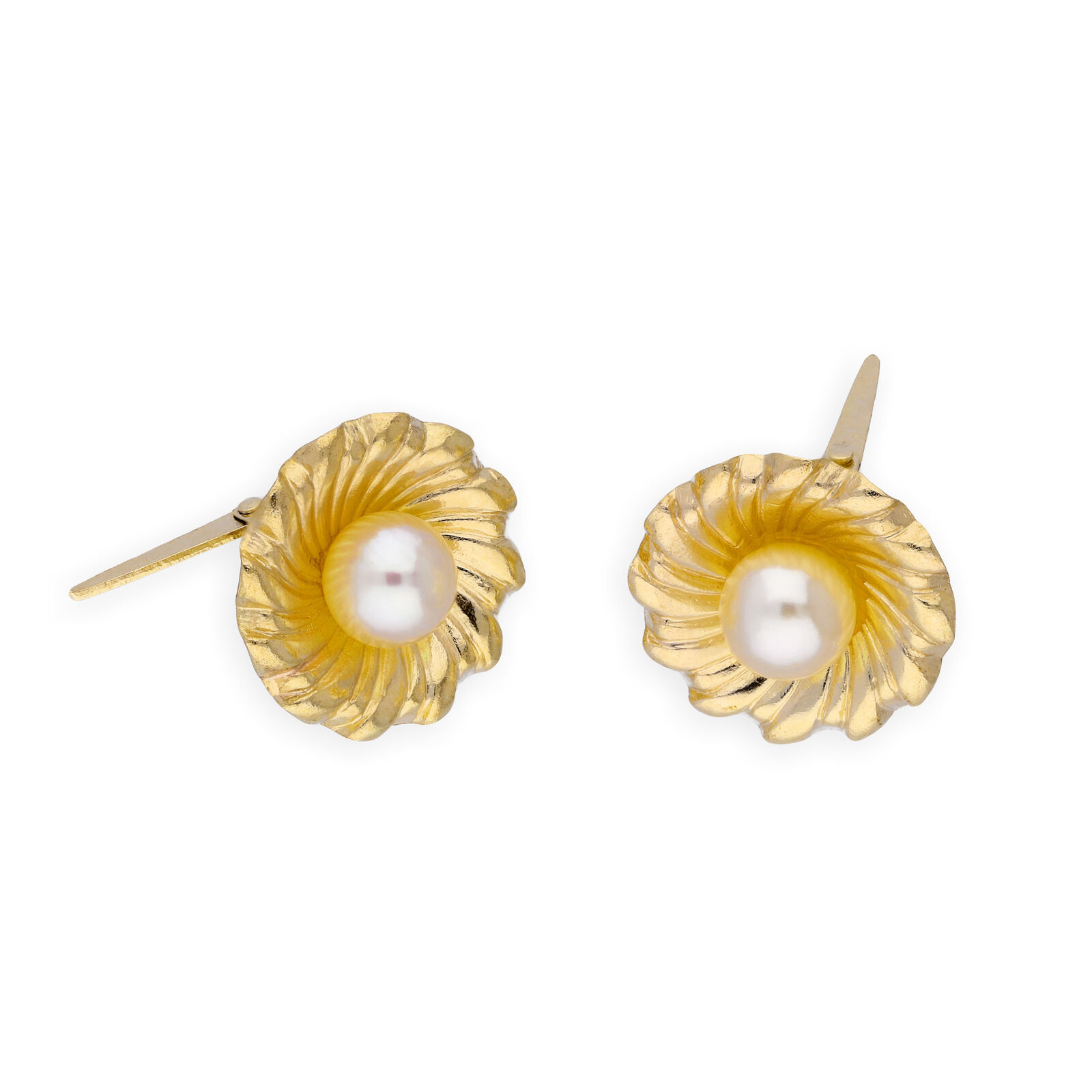 Real 375 9ct gold & Pearl Flower Andralok Earrings Pretty Flowers Plants