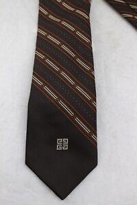 GIVENCHY-Gentlemen-Paris-Brown-Multi-Color-Stripe-Embroidered-Logo-Skinny-Tie
