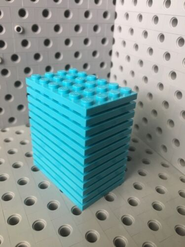 Lego Azure Blue 4x6 Base Plate New Lot Of 12 4 X 6 Roof Floor Building Bricks
