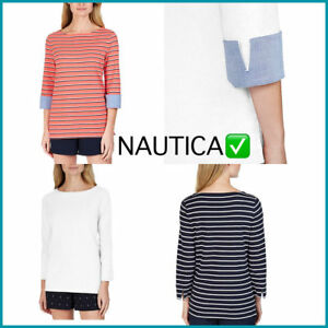 NEW-Nautica-Women-Ladies-039-Cuff-Sleeve-Top-VARIETY-SIZES-amp-COLORS