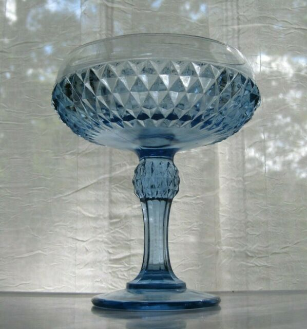 Indiana Glass Ice Blue Diamond Point Compote Footed Bowl