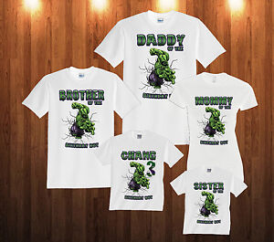 568c0432a Details about Incredible HULK Birthday Shirt Personalized Custom T-shirt  Family and kids