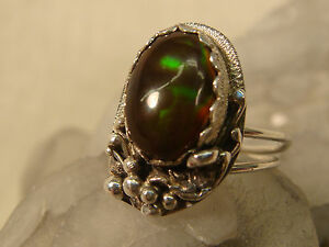 SCOTT-WATSON-FIRE-AGATE-STERLING-RING-SIGNED-ARTISAN-HANDCRAFTED-SILVER-SZ-5-1-2
