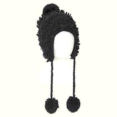 Sassy Girls Ladies BLACK 57cm Trapper Loop Knit WINTER Hat 4 Snow Ski Season