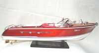 "Riva Aqua. 20"" Wooden Speed Boat Wood Model Boat L50 Handmade Italian Boat"