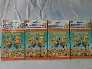 LOW-BID-SALE-FROM-US-Lot-of-8-SETS-Minions-Invitations-Thank-you-Post-Cards