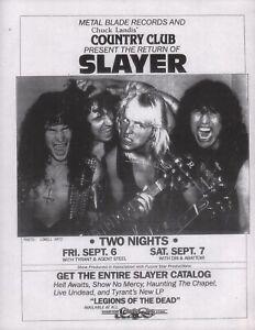 SLAYER-1985-HELL-WAITS-TOUR-UNUSED-RESEDA-CALIF-COUNTRY-CLUB-FLYER-HANDBILL