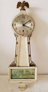 Antiguedad-Laboral-Waterbury-588ms-Mecanico-Wind-Up-8-Dia-Deco-Banjo-Pared-Reloj