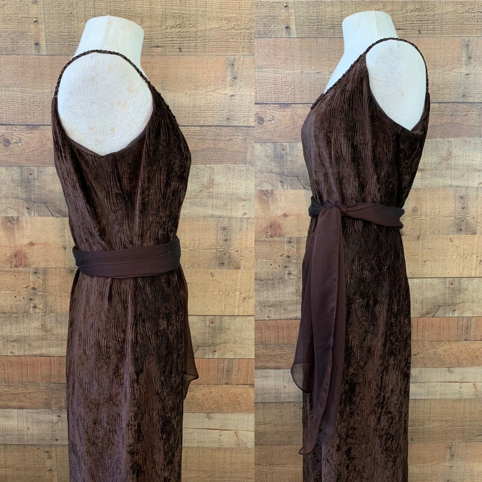 Vintage 1990's Gunne Sax Brown Textured Velvet Ma… - image 3