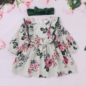 4ac0a68c1 Details about UK Infant Kids Baby Toddler Floral printed Skirt Dresses Tutu 2  Pcs Outfits Set