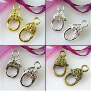 Heart Lobster Clasps Gold Brass 14x27mm  4 Pcs Findings Jewellery Making Crafts