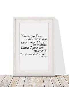 John legend all of me song lyrics framed print with mount ebay image is loading john legend all of me song lyrics framed stopboris Choice Image