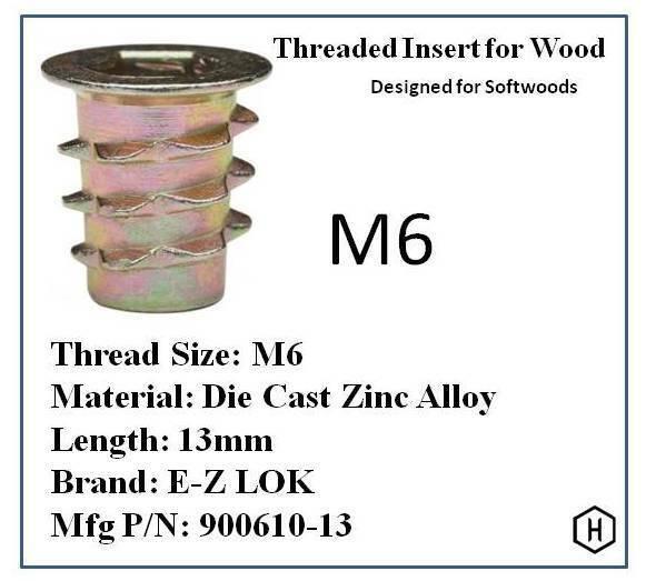 for sale online 50 Pcs E-z Lok M6 Flanged Die Cast Zinc Hex-drive Threaded Insert for Wood