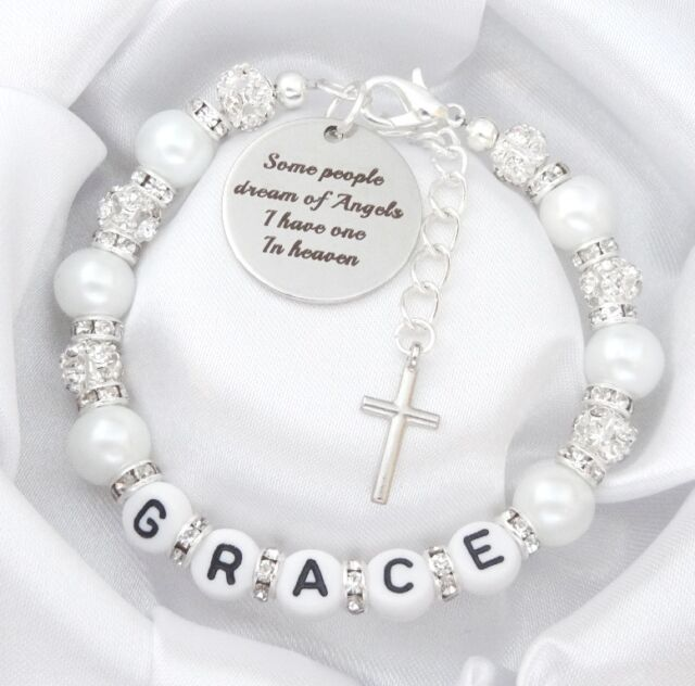 NAME- All rhine white ' Some people dream of Angels .Bracelet,baby,loss,memorial
