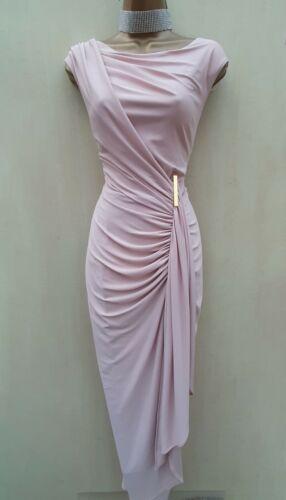 Vestido de fiesta tamaño 10 Reino Unido fase ocho Bebé Rosa Donna Largo Maxi Vestido Grecian Estilo