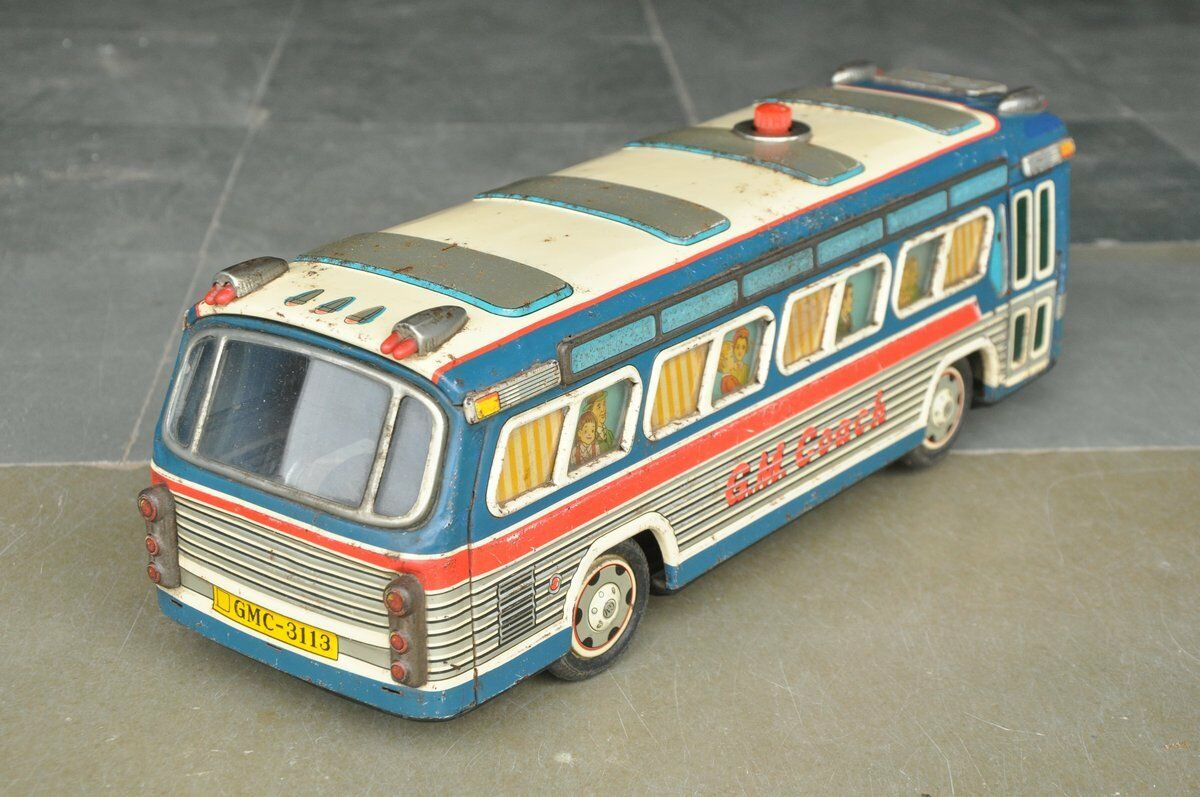 Batería Vintage Rara Grande' ' marca G.M entrenador GMC 3113 Litografía de juguete de estaño, Japón