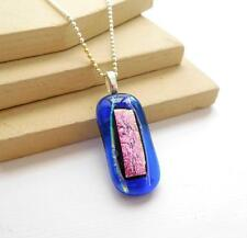 Blue Pink Dichroic Glass Pendant Sterling Silver Bead Chain Choker Necklace H19