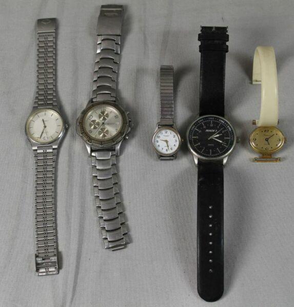 5 Armbanduhren - Quartz - Metall , Leder + Kunststoff Armband - Ca. 303 Gr. (2)