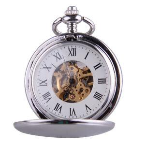 Retro-Silber-Skelettuhr-Mechanische-Uhr-Herren-Damen-Unisex-Taschenuhr-mit-Kette