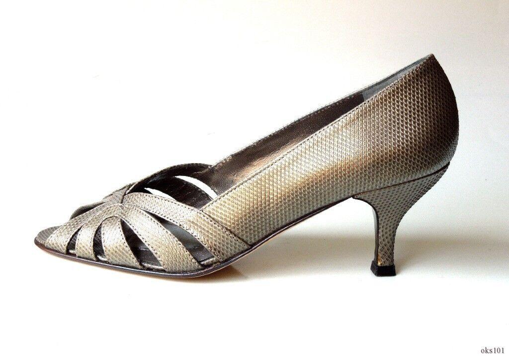 Nuevo 340  340 Nuevo Prevata 'Vaness' Estaño Lagarto Cuero Puntera abierta Tacones Zapatos-Italia e92445