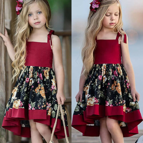 Sweet Toddler Baby Girls Sleeveless Dress Party Pageant Princess Floral Sundress
