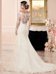 Image Is Loading Long Sleeve White Ivory Mermaid Lace Wedding Dress