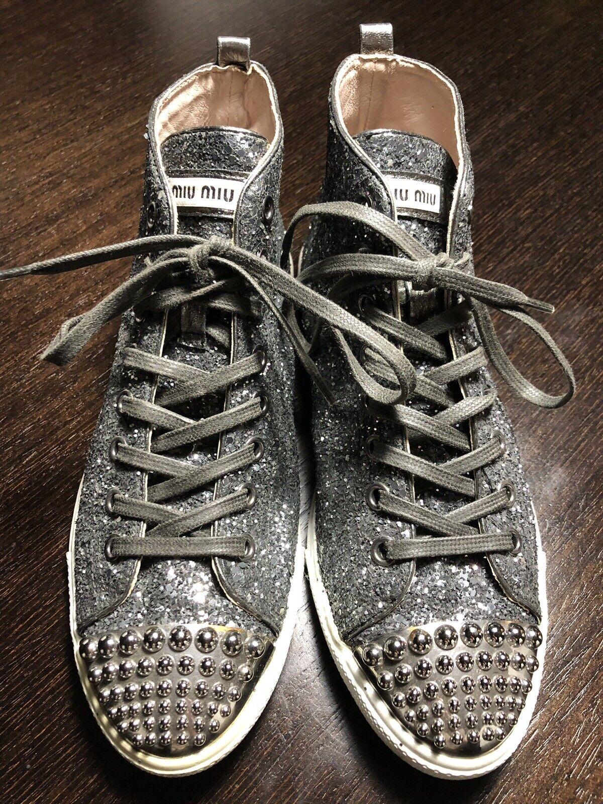 PRADA MIU MIU argent Glitter Rivets High Top Trainers baskets chaussures 38 UK 5