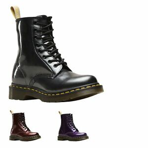 Dr.Martens Delphine 6 Eyelet Black Women Leather Lace-up Zipper High Ankle Boots
