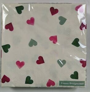 33 cm square 20 in pack Emma Bridgewater lunch napkins Hearts