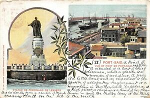 POSTCARD EGYPT  PORT - SAID  PORT & STATUE OF FERDINAND DE LESSEPS